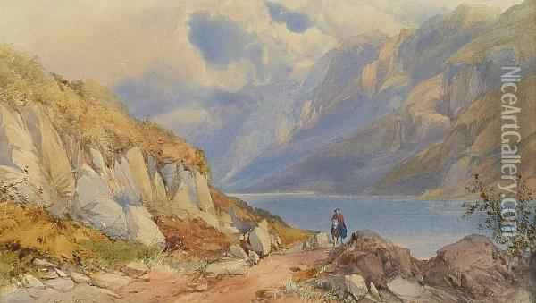 A View Of Wastwater, Cumberland Oil Painting - James Burrell-Smith