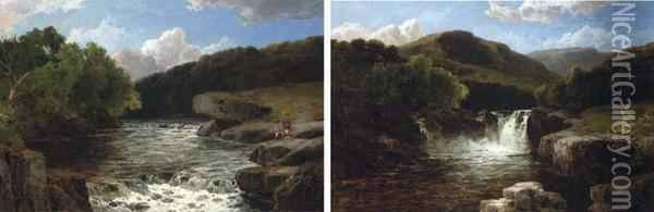 Anglers By A Rapid; And A Waterfall In A Mountainouslandscape Oil Painting - James Burrell-Smith