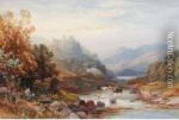 River Landscapes Oil Painting - James Burrell-Smith