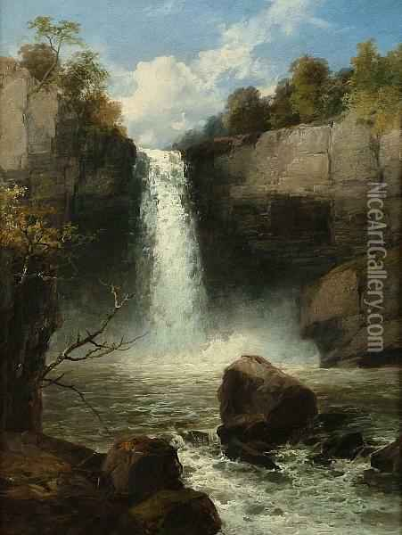 Melincourt Waterfall, Neath, South Wales Oil Painting - James Burrell-Smith