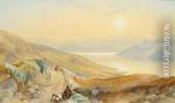 View Over A Lake, Signed And Dated 1852, Watercolour Oil Painting - James Burrell-Smith
