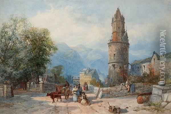 Continental Village Scene Oil Painting - James Burrell-Smith