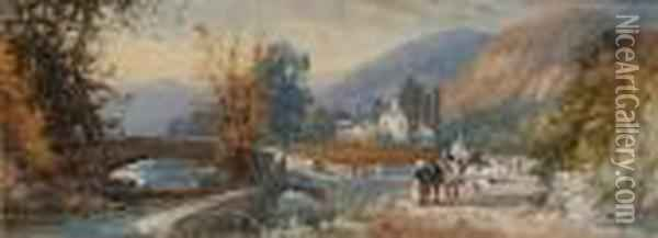 On The Rhine; In The Lakes, A Pair Oil Painting - James Burrell-Smith