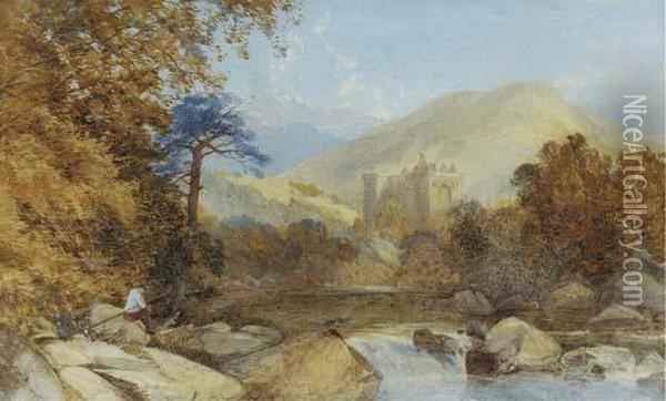 Hermitage Castle, Near Hawick Oil Painting - James Burrell-Smith