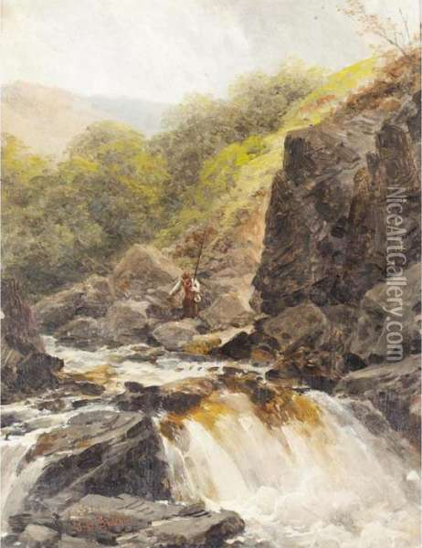 The Waterfall Oil Painting - James Burrell-Smith