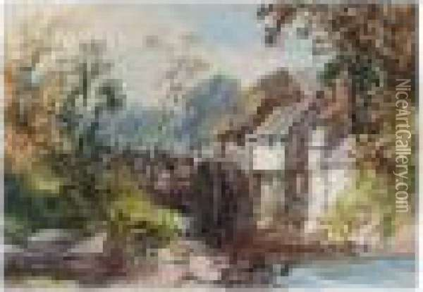 A Watermill Oil Painting - James Burrell-Smith