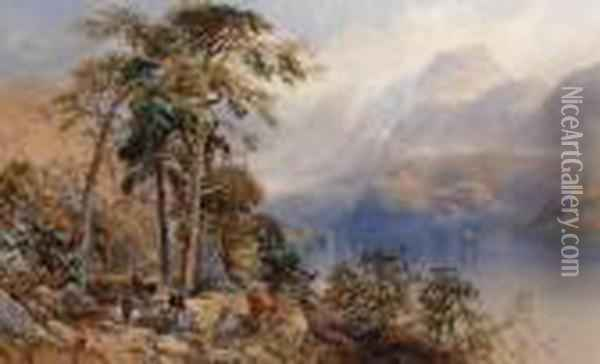 Loch Katrine, Perthshire Oil Painting - James Burrell-Smith