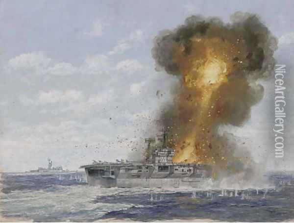 The U.S. aircraft carrier Radnich under enemy fire Oil Painting - English School