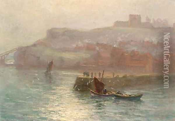 Fishing boats at the mouth of the harbour, Whitby Oil Painting - English School