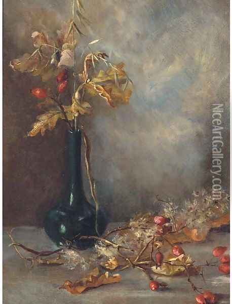 Rosehips in a vase Oil Painting - English School