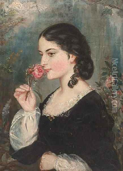 The scent of the rose Oil Painting - English School