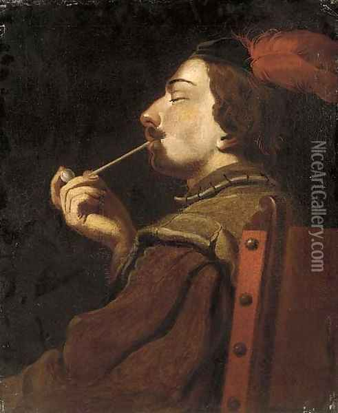 A man smoking a pipe Oil Painting - English School