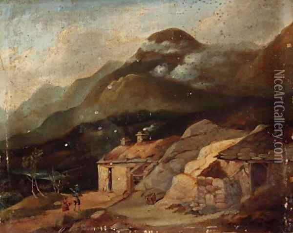 Figures before a croft in a Highland landscape Oil Painting - English School