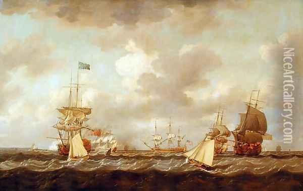 English Ships Coming to Anchor in a Fresh Breeze Oil Painting - Dominic Serres