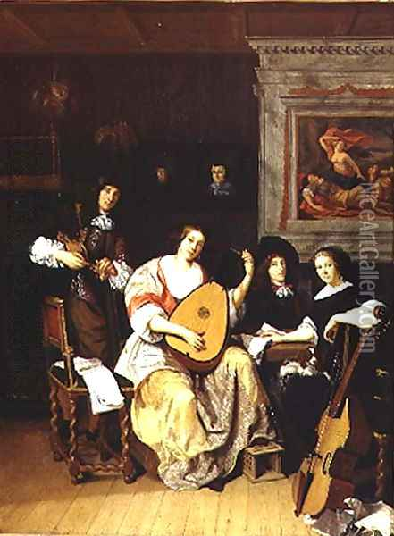 Interior with a group of musicians Oil Painting - F. Sant-Acker