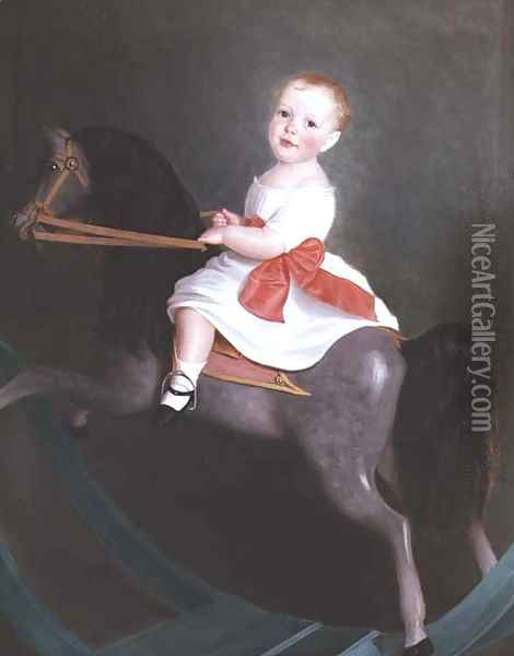 Master James Watts on a Rocking Horse Oil Painting - William Wallace Scott
