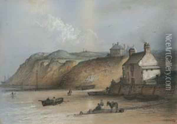 Beach Scene With Boats, Figures And A Donkey On The Shore Oil Painting - Edward Robert Smythe
