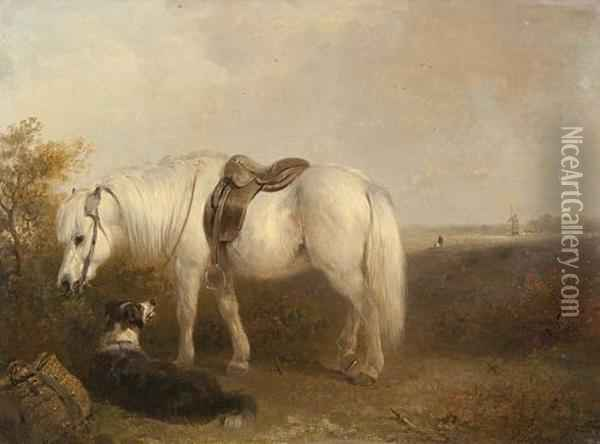 Grey Pony And Sheep Dog Waiting For Their Master Oil Painting - Edward Robert Smythe