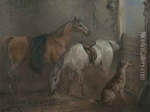 Two Bay Hunters And A Dog In A Stable Interior Oil Painting - Edward Robert Smythe