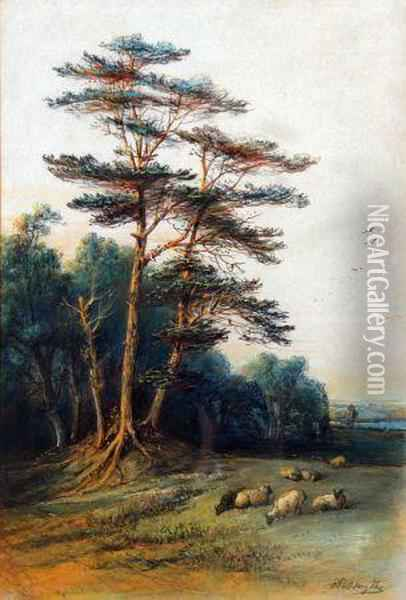 Sheep Grazing By A Woodland Oil Painting - Edward Robert Smythe