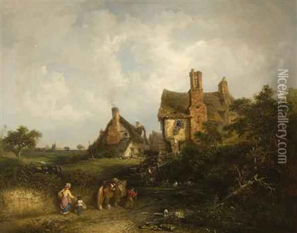 A Family Returning From Market, With Pond And Houses Beyond Oil Painting - Edward Robert Smythe