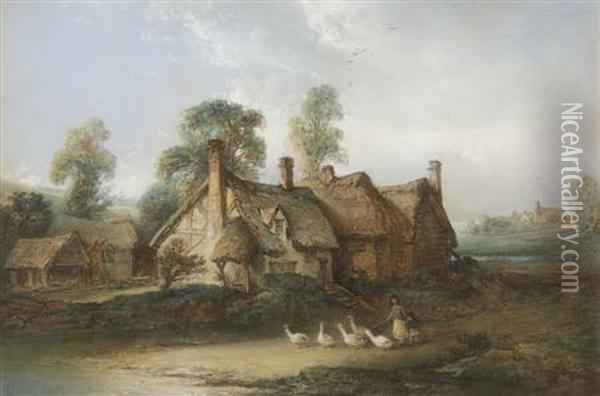 A Goose Girl With Her Flock Before Thatched Cottages Oil Painting - Edward Robert Smythe