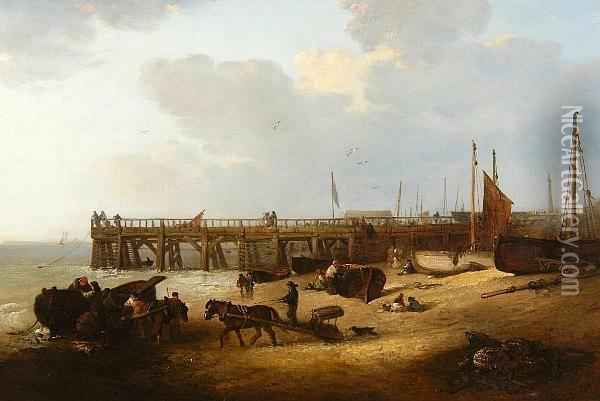 Figures On The Beach Before Yarmouth Jetty Oil Painting - Edward Robert Smythe