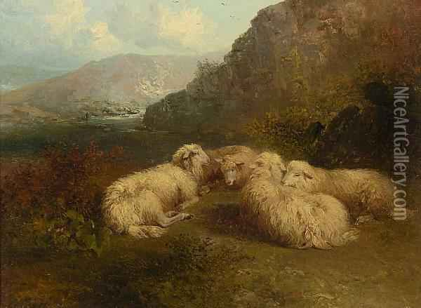 Sheep In A Mountainous Landscape Oil Painting - Edward Robert Smythe