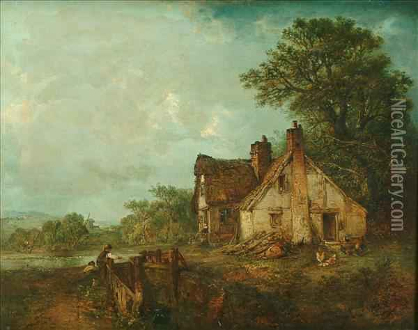 Landscapewith Thatched Cottage Oil Painting - Edward Robert Smythe