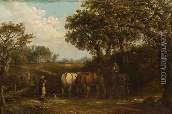 The Log Drag; Horses Watering Before A Village Oil Painting - Thomas Smythe