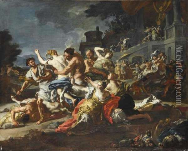 The Battle Between Lapiths And Centaurs Oil Painting - Francesco Solimena