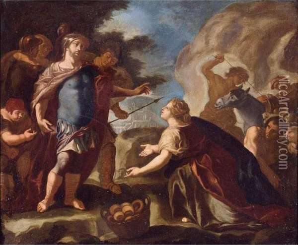 David Before Abigail Oil Painting - Francesco Solimena