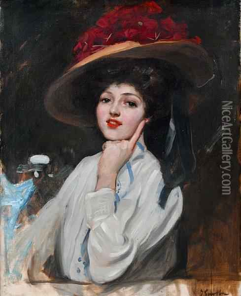 Portrait Of A Young Lady In A Hat Oil Painting - Joaquin Sorolla Y Bastida