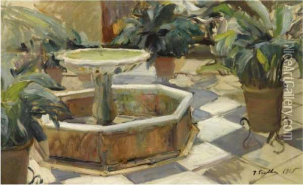 Fuente En Un Patio Sevillano (fountain In A Courtyard Oil Painting - Joaquin Sorolla Y Bastida