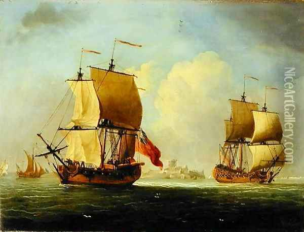 An English Sloop and a Frigate in a Light Breeze Oil Painting - Francis Swaine