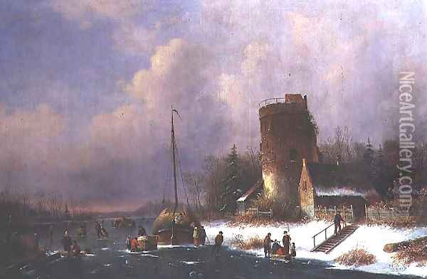 Dutch Winter Scene Oil Painting - Louis Smets
