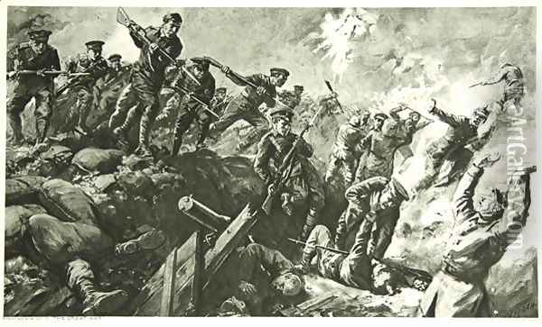 The Capture of the German trenches at Neuve Chapelle Oil Painting - Charles Mills Sheldon