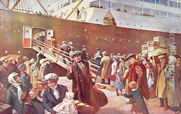 Emigrants bound for Canada aboard RMS Empress, Liverpool, 1913 Oil Painting - Charles Mills Sheldon