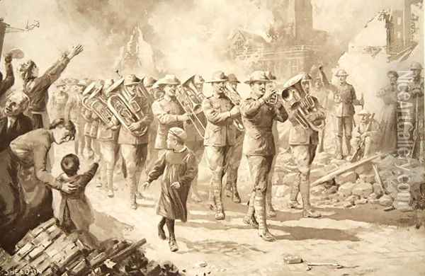 The Music of Triumph: Victorious Australians entering Bapaume, 17th March 1917 Oil Painting - Charles Mills Sheldon