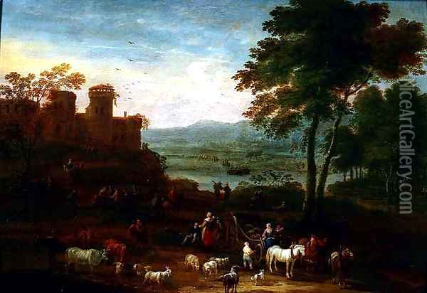Landscape with Travellers in the Foreground Oil Painting - Mathys Schoevaerdts