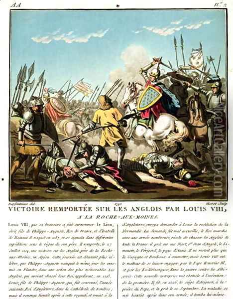Victory Gained Over the English by Louis VIII 1187-1226 at La Roche aux-Moines, engraved by Jean Baptiste Morret fl. 1790-1820, 1790 Oil Painting - Jacques Francois Joseph Swebach