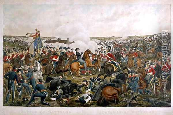 Battle of Waterloo, 1815, engraved by J.A. Cook, 1816 Oil Painting - Sauerweld, A.