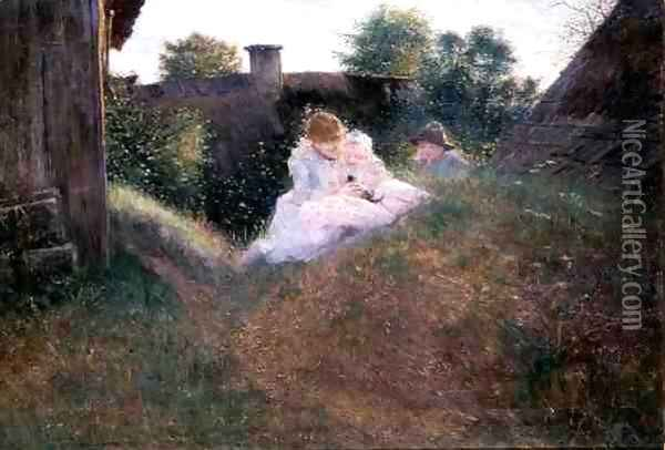 Brother and Sisters in a Country Courtyard, 1893 Oil Painting - Robert Sterl