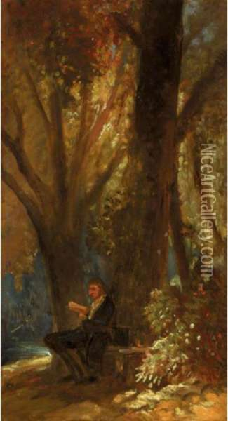 Der Philosoph Im Walde (the Philosopher In The Wood) Oil Painting - Carl Spitzweg