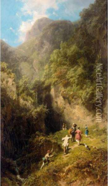 Die Bergbesteigung (the Mountaineers) Oil Painting - Carl Spitzweg