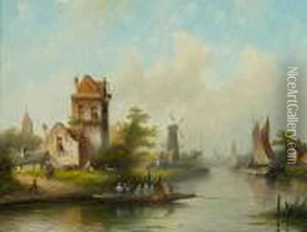 River Landscape With Ships And Cottages Oil Painting - Jan Jacob Coenraad Spohler
