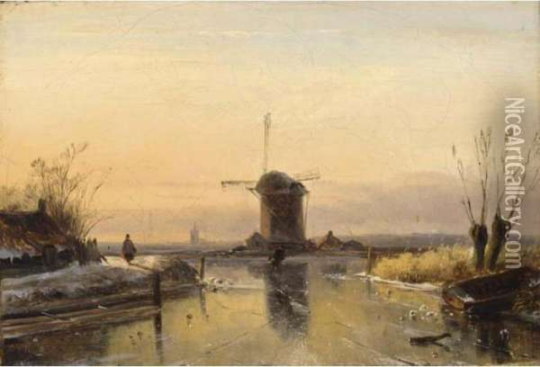 Figures In A Winter Landscape, A Windmill In The Distance Oil Painting - Jan Jacob Coenraad Spohler