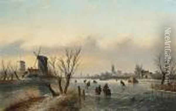 Winter Landscape With Figures Near A Koek En Zopie Oil Painting - Jan Jacob Coenraad Spohler