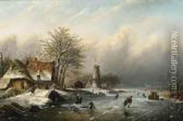 Winter Landscape With Figures On The Ice Oil Painting - Jan Jacob Coenraad Spohler