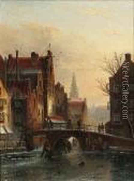 View Of The Grimburgwal On The Rokin, Amsterdam With The Zuiderkerkin The Distance Oil Painting - Jan Jacob Coenraad Spohler